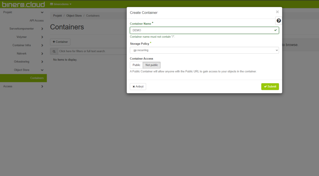 Image showing the horizon interface where you choose the name of the container and storage policy.